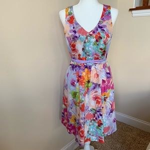 Spense painted floral dress with bow belt #200